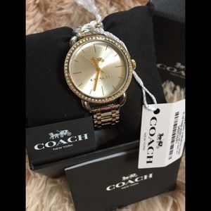 Coach Lex Crystal Accent Silver Dial Two Tone Watc